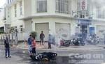 Cháy xe gắn máy trên đường Phạm Văn Đồng