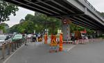 Phong toả cầu vượt Lăng Cha Cả vì xe container vướng gầm