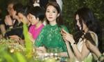Hoa hậu Đặng Thu Thảo đẹp sang trọng với đầm ren xanh
