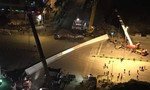Thanh thép nặng hàng tấn rơi từ cầu vượt xuống đường