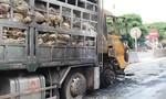 Đang lưu thông trên đường, xe tải cháy trụi