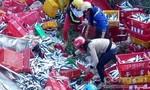 Xe tải bay xuống mương, 1 tấn cá tươi văng tung toé