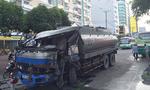 Xe bồn tông xe buýt ở Sài Gòn, hơn 10 người thoát chết
