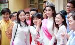 Hoa hậu Đỗ Mỹ Linh rạng rỡ về dự lễ khai giảng trường cũ
