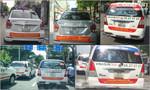 Taxi truyền thống tại TP.HCM và Hà Nội dán decal phản đối Uber, Grab