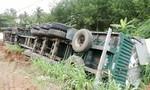 Tránh xe thắng gấp, xe container chở 32 tấn trái cây lật nhào