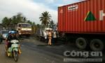 Xe tải tông đuôi xe container, tài xế tử vong, kẹt trong cabin