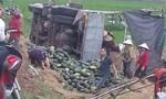 Người dân giúp thu gom 20 tấn dưa bị lật xuống ruộng