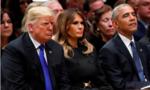 """Tổng thống Trump """"đơn độc"""" trong tang lễ Bush cha"""