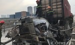 Xe container cháy rụi trên đường dẫn cao tốc TPHCM-Long Thành-Dâu Giây