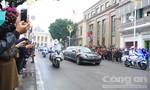 Đoàn xe chở Chủ tịch Triều Tiên Kim Jong Un về tới Hà Nội