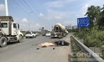 Xe bồn ôm cua lên cao tốc, cán chết người ở Sài Gòn