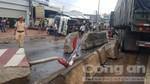 Xe container tông văng xe tải, quốc lộ 1 ùn tắc kinh hoàng