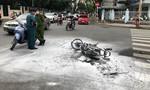 Hai đối tượng chạy xe tốc độ cao, té xe bốc cháy ở Sài Gòn