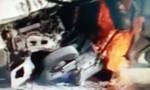 Xe ba gác cháy rụi sau tai nạn, lái xe thiệt mạng