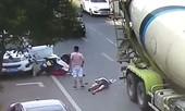 Người phụ nữ thoát chết dù bị xe bồn cán nát nón bảo hiểm