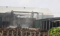 Lửa cháy ngùn ngụt tại nhà máy chế biến gỗ ghép