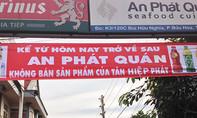 Một quán ăn ở Đồng Nai treo băng rôn không bán sản phẩm Tân Hiệp Phát
