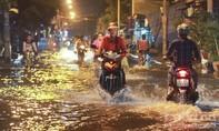 Lội nước về nhà trong đêm triều cường