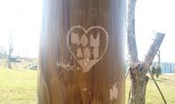 Vẽ bậy 'tình yêu' lên trụ cột trong khu viên tượng đài Mẹ gây phản cảm