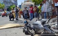 Người đàn ông dắt xe máy đi bộ, bị xe bồn cán tử vong