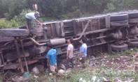Ô tô tải đâm xuống rừng tràm, tài xế bò ra khỏi xe