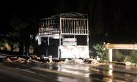 Hàng chục cảnh sát PCCC dập lửa giải cứu xe tải bốc cháy trong đêm