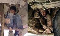 Xót cảnh hai đứa trẻ Trung Quốc trốn gầm xe buýt thăm bố mẹ làm ăn xa