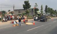 Xe máy kéo lê nhau trên đường, hai người thương vong
