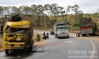 Hai xe tải đối đầu, một tài xế trọng thương