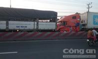 3 ô tô đụng liên hoàn trên QL1, ùn tắc giao thông nghiêm trọng