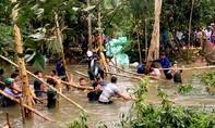 Vỡ cống dẫn nước từ kênh Vĩnh Tế, 150 ha lúa bị đe dọa