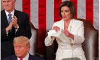 Chủ tịch Hạ viện Mỹ xé bản Thông điệp liên bang khi Trump vừa đọc xong