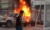 Cháy xe phun thuốc khử trùng phòng chống dịch tại TP.Phan Thiết