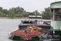 Hai công ty điều 7 sà lan khai thác đất sét trái phép trên sông Hậu