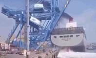 Clip khoảnh khắc tàu chở container tông sập cần cẩu hàng ở Hàn Quốc