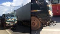 Xe tải tông xe máy, 2 cha con thương vong
