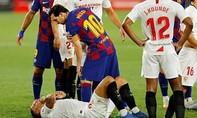 Clip Messi đấm vào mặt đối thủ, trong trận đấu Barca hòa 0-0 Sevilla