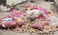 Xe tải thả hàng trăm bao tỏi Trung Quốc xuống kênh ở Đồng Tháp