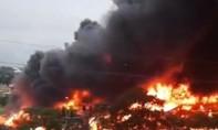 Cháy lớn tại KCN Yên Phong, khói lửa cuồn cuộn