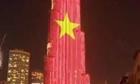 Clip tháp cao nhất thế giới ở Dubai thắp sáng cờ Việt Nam mừng Quốc khánh