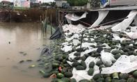 Người dân giải cứu hàng chục tấn dưa hấu giúp tài xế tải bị lật