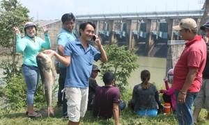 """Người dân đổ xô đến đập thủy điện Trị An bắt cá """"khủng"""""""