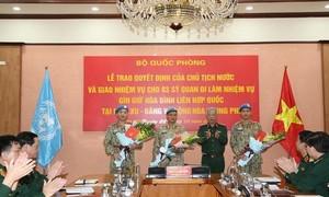 3 sĩ quan Quân đội lên đường làm nhiệm vụ gìn giữ hòa bình LHQ