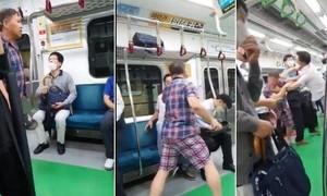 Clip người đàn ông không đeo khẩu trang hành hung hành khách nhắc nhở