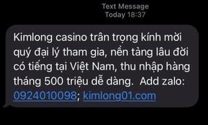 Tràn lan tin nhắn gạ gẫm cờ bạc online