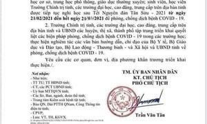 Xuất hiện văn bản giả cho học sinh Quảng Nam nghỉ học đến 21-3