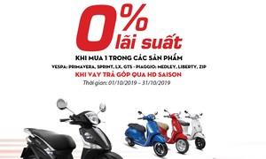 HD SAISON khuyến mãi, khách hàng mua Piaggio trả góp 0% lãi suất
