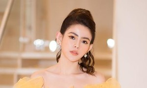 Á hậu Thủy Tiên rực rỡ sắc vàng trong show thời trang