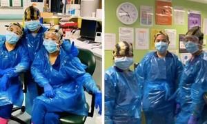 Ba y tá Anh dùng túi rác thay đồ bảo hộ nhiễm nCoV